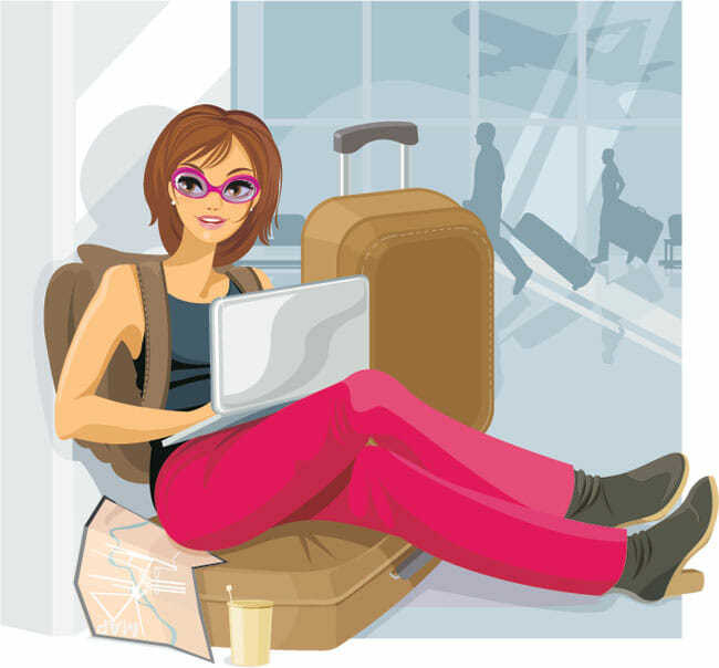Рисованная девушка с компьютером