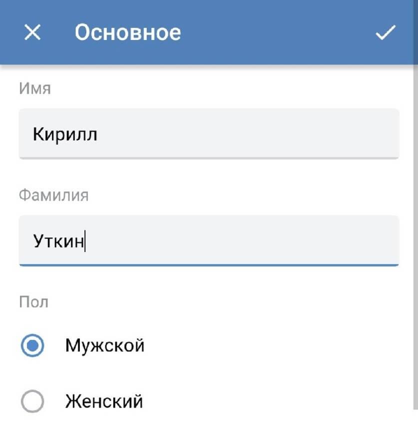 Основное меню vk